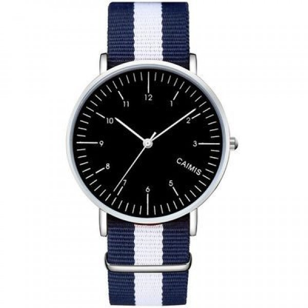 Blue White Stripes Nylon Strap Round Black Dial Watch Silver Case 40mm 36 mm