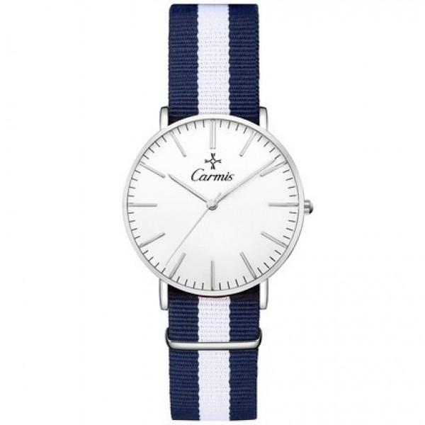 Blue White Stripes Nylon Strap Round Classy Vintage Watch Gold Silver Case 40mm 36 mm