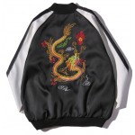Black Double Dragon Embroidery Mens Aviator Baseball Yokosuka Bomber Jacket