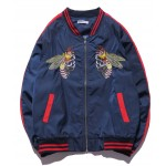 Blue Navy Bees Embroidery Mens Aviator Baseball Yokosuka Bomber Jacket