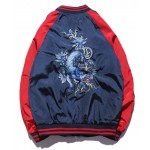 Blue Navy Leopard Embroidery Mens Aviator Baseball Yokosuka Bomber Jacket