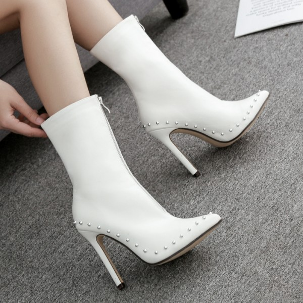 White Zipper Metal Studs Point Head  Rider Stiletto High Heels Boots Shoes