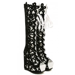 Black White Suede Florals Flowers Hollow Out Lace Up Platforms Wedges Knee Boots