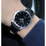 Black Faux Leather Strap Round Black Dial Classy Vintage Watch Silver Case 40mm