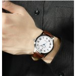 Brown Faux Leather Strap Round Roman Numbers Vintage Watch Silver Case 40mm