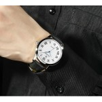 Black Faux Leather Strap Round Roman Numbers Vintage Watch Silver Case 40mm