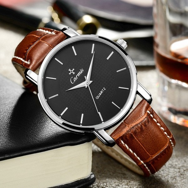 Brown Faux Leather Strap Round Black  Dial Classy Vintage Watch Silver Case 40mm