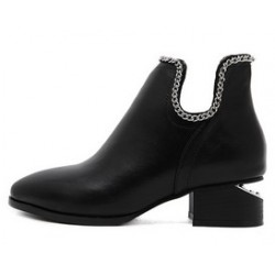 Black Ankle U Metal Chain Vintage Punk Rock Chelsea Boots Shoes