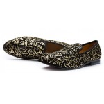 Black Gold Retro Mens Loafers Dapperman Prom Dress Shoes