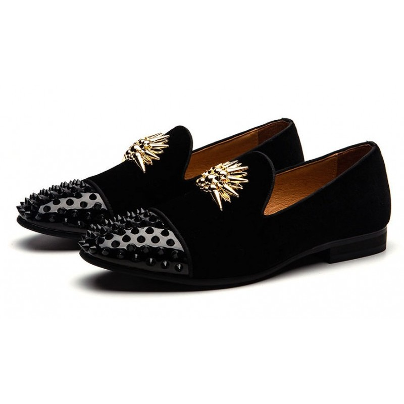 Black Gold Spikes Mens Loafers