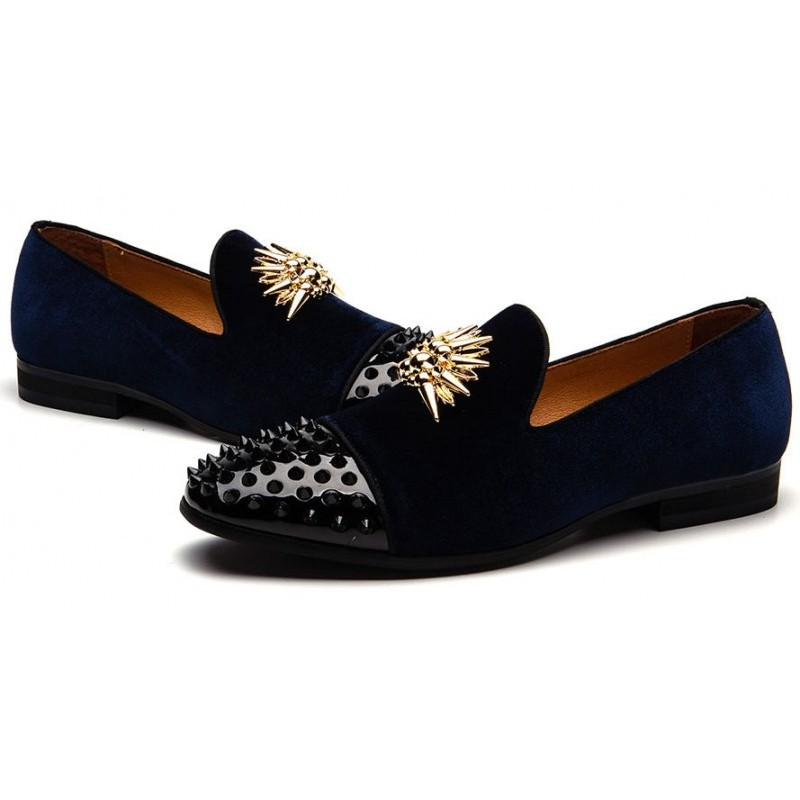 Blue Navy Gold Spikes Mens Loafers