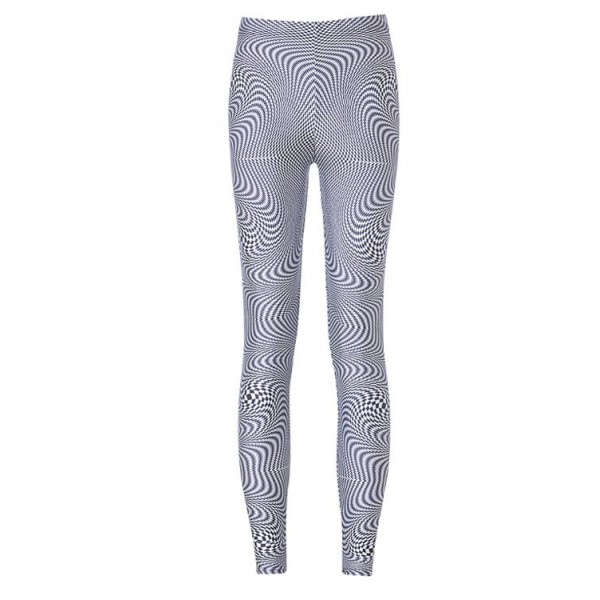 Black White Swirl Geometric Yoga Fitness Leggings Tights Pants