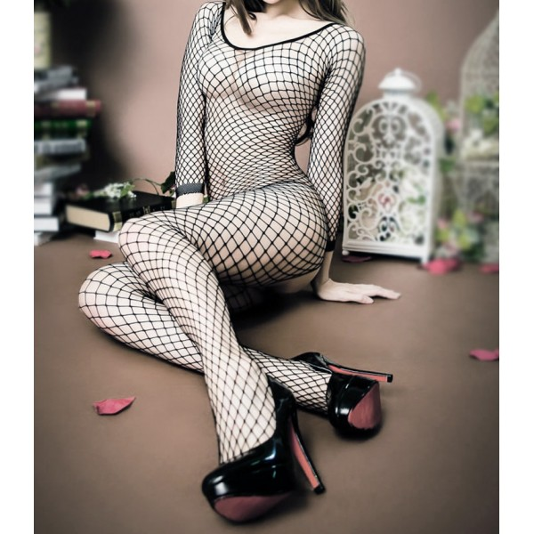 Black Big Fish Net Fishnet Sexy Catsuit Body Stocking Lingerie