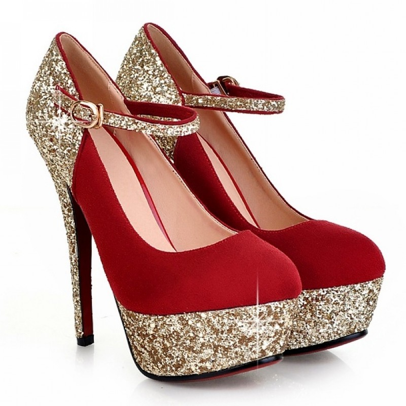 6224cfc45dd Red Suede Gold Glitter Mary Jane Platforms Stiletto High Heels Shoes
