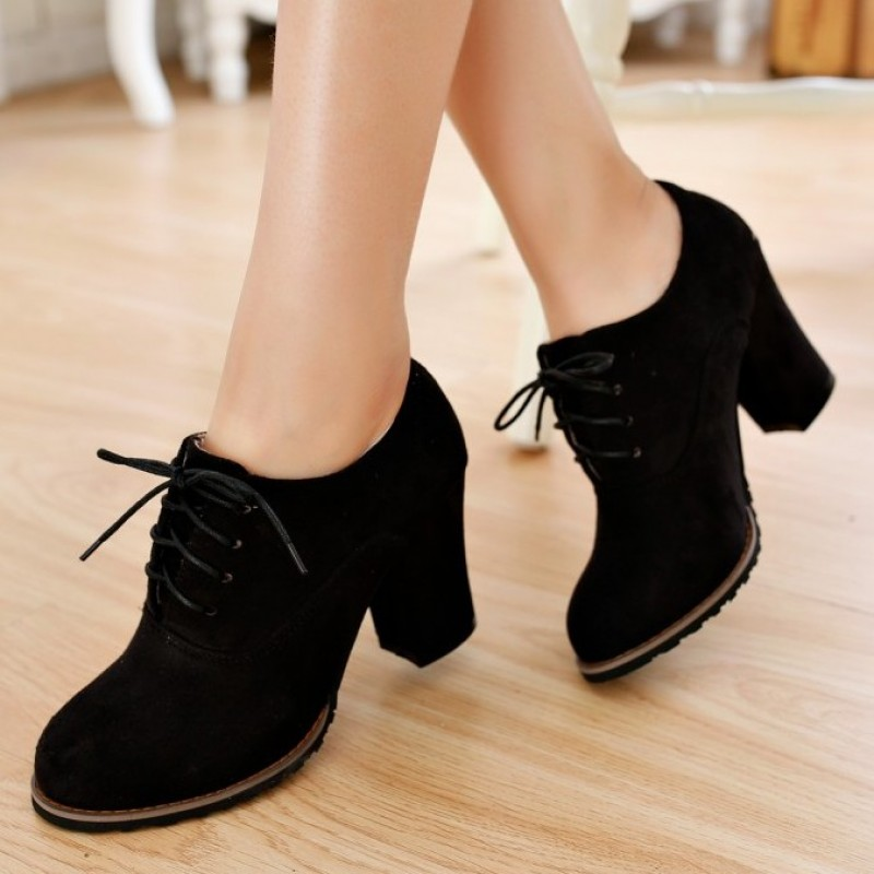 Black Suede Old School Vintage Lace Up High Heels Women ...