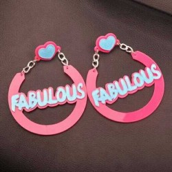 Pink Blue Fabulous Acrylic Oversized Earrings Ear Drops