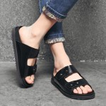Black Leather Double Strap Flip Flops Flats Fashion Mens Gladiator Roman Sandals