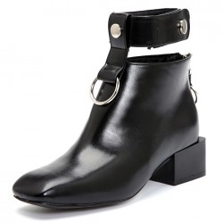 Black Metal Ring Ankle Cuff Blunt Head Grunge Chelsea Boots Shoes