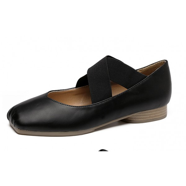 Black Cross Straps Ballets Ballerina Flats Shoes