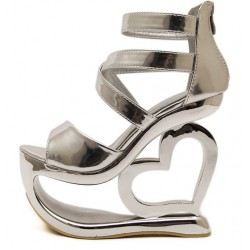 a35df400a94f Silver Metallic Shiny Platforms Heart Hollow Out Wedges Sandals Bridal Shoes