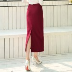 Burgundy Black Woolen Long Bodycon Skirt
