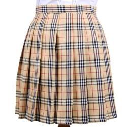 def3a6a68 Beige Check Tartan Plaid Scotland Checkers Lolita Cosplay Pleated A Line  Mini Skirt