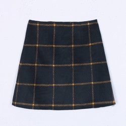 Blue Navy Orange Check Plaid Checkers Woolen Bodycon A Line Mini Skirt