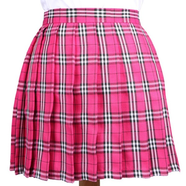 Pink Fushia Check Tartan Plaid Scotland Checkers Lolita Cosplay Pleated A Line Mini Skirt