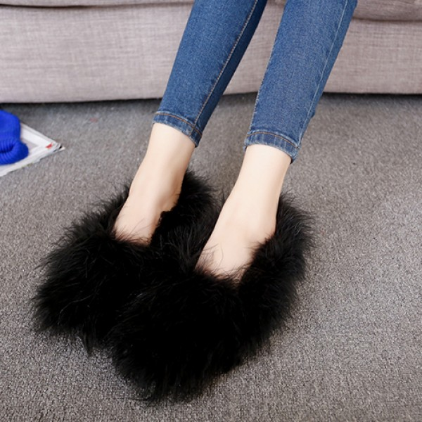 Black Furry Fuzzy Long Fur Flats Loafers Shoes