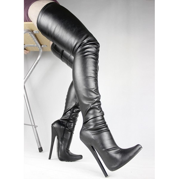 Black Sexy Thigh High Pointed Head Stiletto High Heels Night Club Cosplay Long Boots