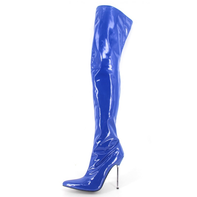 outlet on sale special sales designer fashion Blue Sexy Patent Glossy Thigh High Pointed Head Stiletto High Heels Night  Club Long Boots