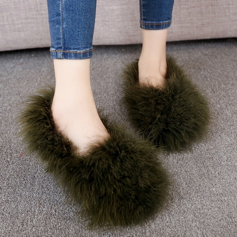 Green Dark Furry Fuzzy Long Fur Flats