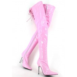 Pink Patent Glossy Thigh High Night Club Stiletto High Heels Night Club Long Boots Shoes