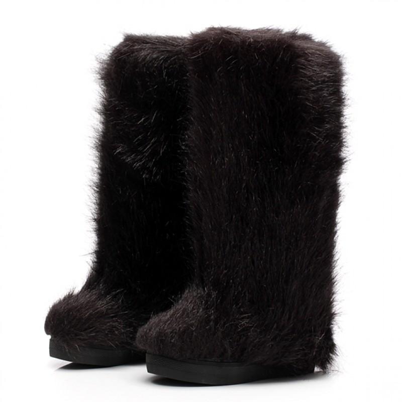 Black Furry Long Fur Eskimo Long Fur Snow Yeti Boots
