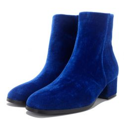 Blue Royal Velvet Blunt Head Heels High Top Boots Shoes