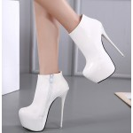 White Patent Glossy Platforms Stiletto High Heels Ankle Boots Shoes