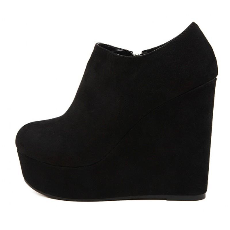 Black Suede Platforms Wedges Ankle