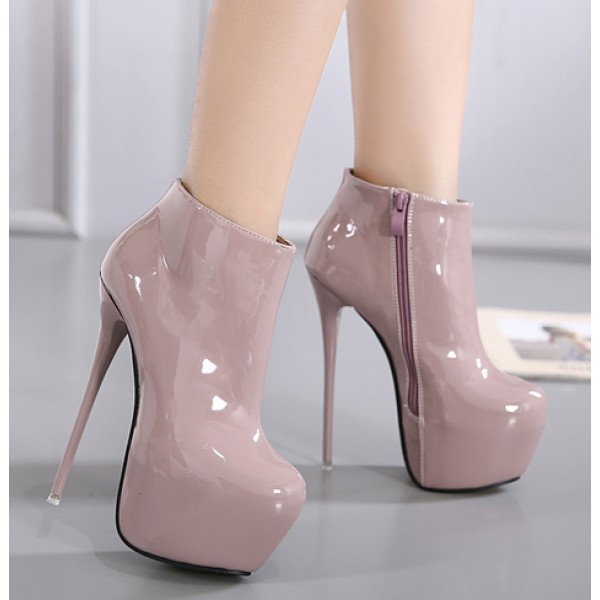 Khaki Patent Glossy Platforms Stiletto High Heels Ankle Boots Shoes