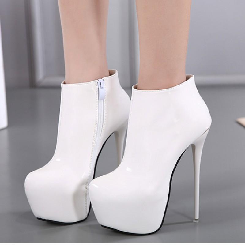 White Patent Glossy Platforms Stiletto