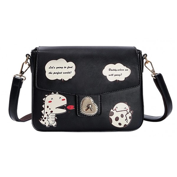 Black Dinosaurs Cartoon Heart Buckle Retangular Cross Body Strap Bag Handbag