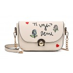 Cream Pink Red Black Heart Embroidery Gold Chain Cross Body Bag Handbag Purse
