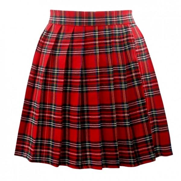 Red Plaid Tartan Scotland Checkers Lolita Cosplay Pleated