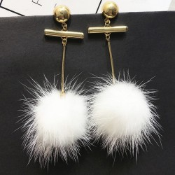 White Giant Flurry Fur Poms Earrings Ear Drops