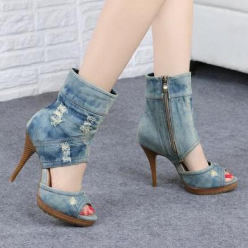 Blue Ripped Denim Jeans Ankle Peep Toe