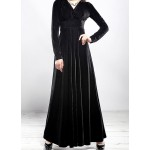 Black Velvet Long Sleeves V Neck Gothic Maxi Long A Line Dress Gown
