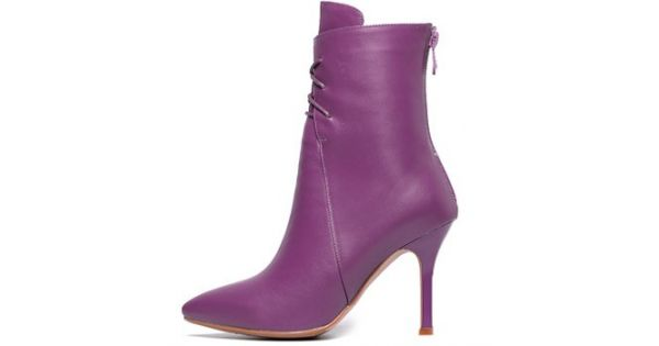 d0eb05c2a Purple Leather Lace Up Point Head Stiletto High Heels Ankle Boots Shoes