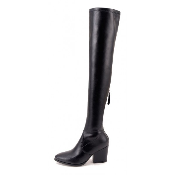 Black Leather Elastic PU Point Head Long Knee Rider High Heels Boots Shoes