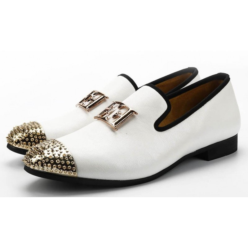 White Gold Emblem Spikes Mens Loafers