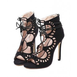 Black Gladiator Strappy High Heels Stiletto Sexy Peep Toe Cut Sandals Shoes