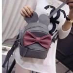 Grey Pink Giant Bow Mouse Ears Mini Backpack Cross Body Bag